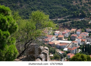 vista of a traditional mediterranean village from the top of a hill