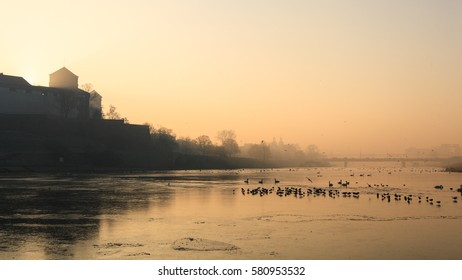 Vistula river in Krakow, Poland, on a highly polluted morning