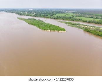 Vistula river near Kepa Kielpinska village, aerial view