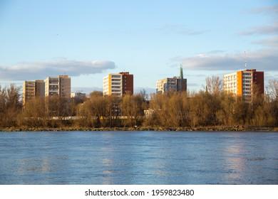 Vistula river in Warsaw with Praga in background - Shutterstock ID 1959823480