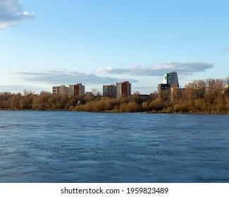 Vistula river in Warsaw with Praga in background - Shutterstock ID 1959823489