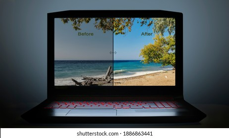 visual about editing photos on computer. edit photos before and after