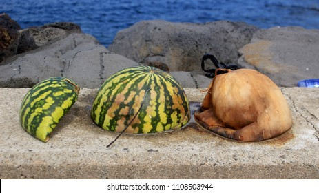 A visual illustration of a watermelon going through stages of decomposition.