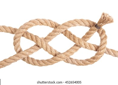 "Visual material or guide on execution of ""Double Carrick Bend"". Isolated on white background. Illustration for a survival guide."