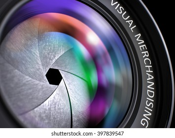 Visual Merchandising Written on Camera Lens with Shutter. Colorful Lens Reflections. Closeup View. Camera Lens with Visual Merchandising Inscription. Colorful Lens Flares on Front Glass. 3D Render.