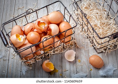 Visual metaphor/proverb: Don't put all of your eggs in one basket with cracked eggs