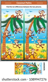 Visual puzzle with happy playful monkeys on the beach and coconut palms: Find the ten differences between the two pictures. Answer included.