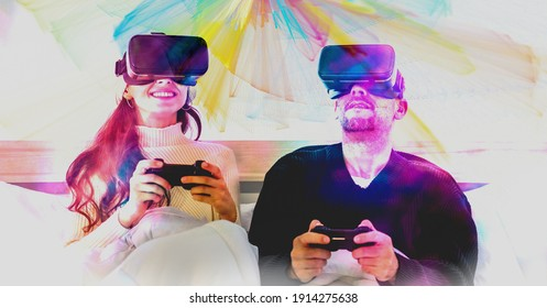 Visual reality concept, caucasian couple wearing Visual reality or VR headset playing video console game together on bed in bedroom with multi color splash effect
