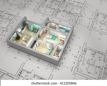 Visualization of apartment over architectural plan