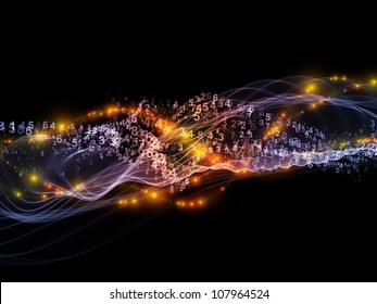 Visually pleasing composition of abstract sine waves, numbers and design elements to serve as supporting background for such subjects modern computing, virtual reality and signal processing
