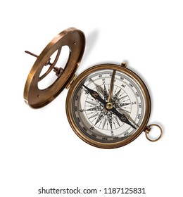 Vitage brass compass with sun-dial isolated on white background.