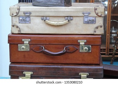 Vitage Travel Leather Suitcases in Good Condition
