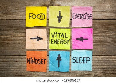 vital energy concept - food, exercise, mindset and sleep handwritten on colorful sticky notes