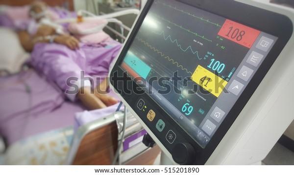 Vital Monitor Show Heartrate Oldman Hospital Stock Photo