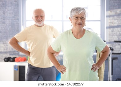 Vital pensioners exercising in the gym.