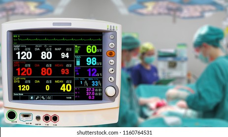 "Vital sign ekg blood pressure monitor showing DEMO screen ""No real patient information"" in blurred operating room background."