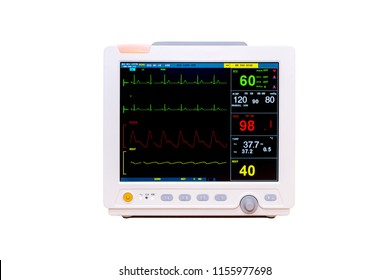 Vital signs and Heart rate monitor with diagram isolated on white background included clipping path