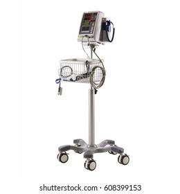 Vital Signs Monitor Device Isolated on White Background. Capnography Monitor. Medical Diagnostic Equipment. Monitoring Device. Clipping Path