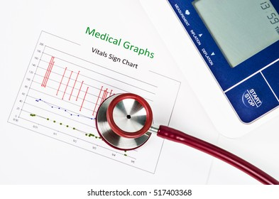 Vitals sign chart, Medical Graphs and Measuring blood pressure with red stethoscope on white background. Vital sign record concept.