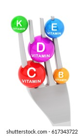 Vitamin  b, c, d, e, k. 3d-Illustration  Isolated on white background.