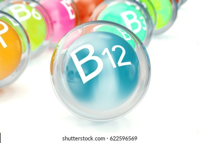 Vitamin B12, isolated on white background. Symbol of health and longevity, 3d rendering