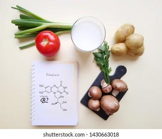 Vitamin B2 (Riboflavin). Structural chemical formula of vitamin B2 molecule with food rich in vitamin B2. Healthy food.