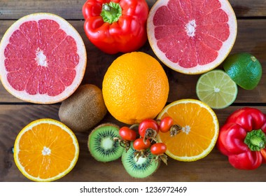 Vitamin C in fruits and vegetables. Natural products rich in vitamin C