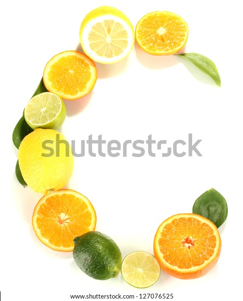 Vitamin C posted products which contain it isolated on white