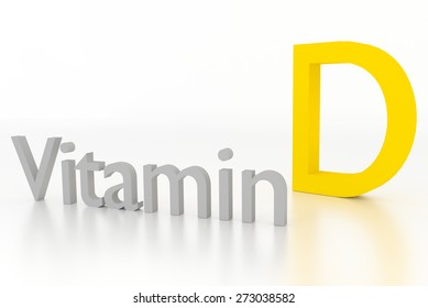 vitamin d 3d illustration on white glossy surface