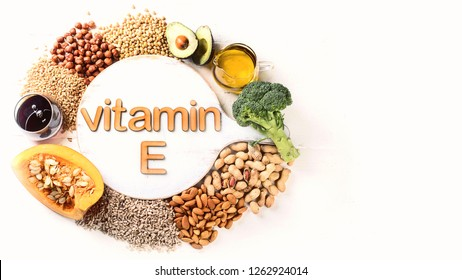 Vitamin E rich food. Flat lay with copy space. Healthy eating concept
