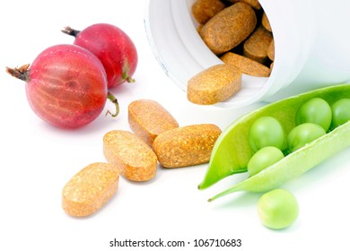 Vitamin and mineral supplement with fruits and vegetables -peas and gooseberries.