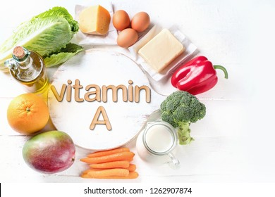 Vitamin A Rich Foods. Top view. Healthty eating concept. Flat lay with copy space