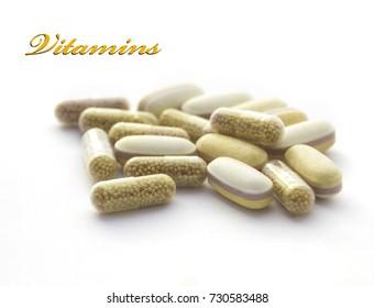 vitamins isolated on white background