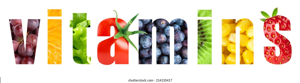 Vitamins word on white background. Fresh fruits and vegetables
