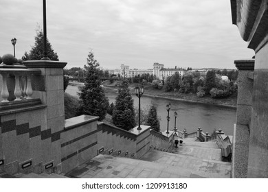 Vitebsk, Belarus - 06/10/2018: Western Dvina River and the steps of the Assumption Cathedral, Vitebsk, Belarus