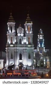 VITEBSK. BELARUS. 23 DECEMBER 2018 : Resurrection (Voskresenskaya) church and townhouse in Vitebsk. Belarus