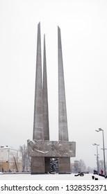 VITEBSK. BELARUS. 23 DECEMBER 2018 : Three bayonet monument at Park Winners in Vitebsk. Belarus