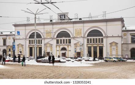 VITEBSK. BELARUS. 23 DECEMBER 2018 : Railway station in Vitebsk. Belarus