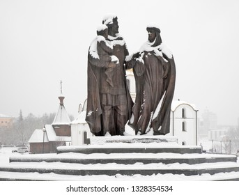 VITEBSK. BELARUS. 23 DECEMBER 2018 : Monument to prince Alexander Nevsky with his wife princess Alexandra in Vitebsk. Belarus