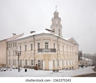 VITEBSK. BELARUS. 23 DECEMBER 2018 :Alexander Suvorov street and townhouse in Vitebsk. Belarus