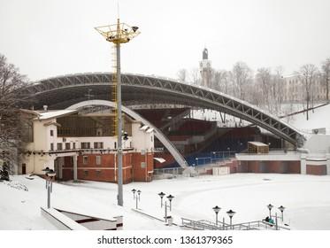 VITEBSK. BELARUS. 23 DECEMBER 2018 : Summer amphitheater in Vitebsk. Belarus