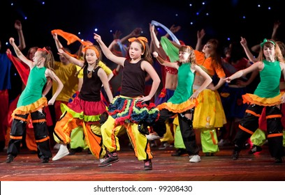 "VITEBSK, BELARUS - APRIL 2: Unidentified children from dancing group ""Belka"" at a concert ""Dancing group ""Belka"" collects friends"" on April 2, 2012 in Vitebsk, Belarus"