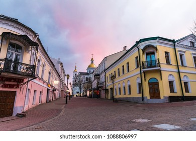Vitebsk, Belarus - April 21, 2018: pedestrian streets in the historic center of the city at sunset