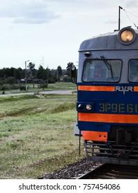 Vitebsk, Belarus - August 14, 2017: old train European neighbors. diesel local passenger transportation