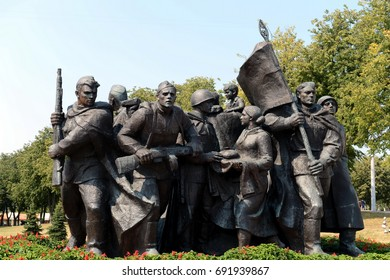 "VITEBSK, BELARUS - AUGUST 8, 2015:Fragment of the memorial ""Liberators of Vitebsk - Soviet soldiers, partisans and underground"""