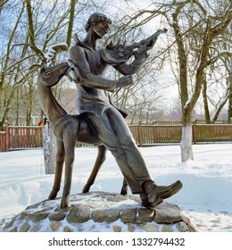 VITEBSK, BELARUS - FEBRUARY 21, 2009: Vitebsk melody on French violin - monument to Marc Chagall in the yard of Chagall's childhood home. The monument by sculptor Valery Moguchiy was erected in 1998.