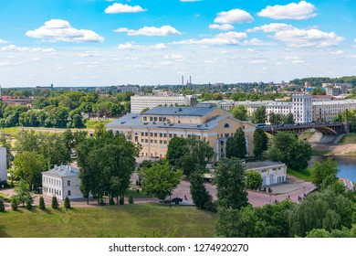 VITEBSK, BELARUS - JULY 10, 2018:The view from Algergawi mountains in the historic center of Vitebsk national Academic Drama theatre named after Yakub Kolas.
