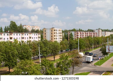 VITEBSK, BELARUS - JULY 27: View of Moscow Avenue from the window of the apartment on the fourth floor on July 27, 2016 in Vitebsk.