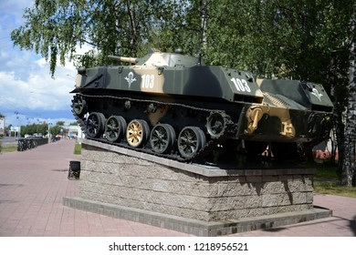 VITEBSK, BELARUS - JULY 8, 2016: Combat vehicle landing on a pedestal at the gate of the Vitebsk 103rd separate guards airborne brigade