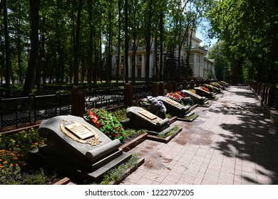VITEBSK, BELARUS - JULY 8, 2016:Memorial Alley - the burial of soldiers who died during the liberation of Vitebsk